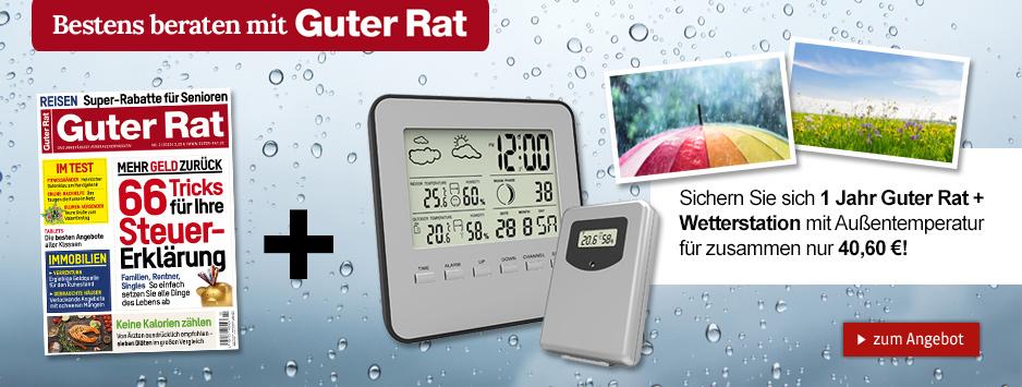 1 Jahr Guter Rat + Wetterstation mit Außentemperatur für nur 40,60 €