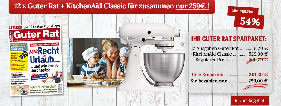 Jetzt 12 x Guter Rat + KitchenAid Classic für zusammen nur 259€ sichern!