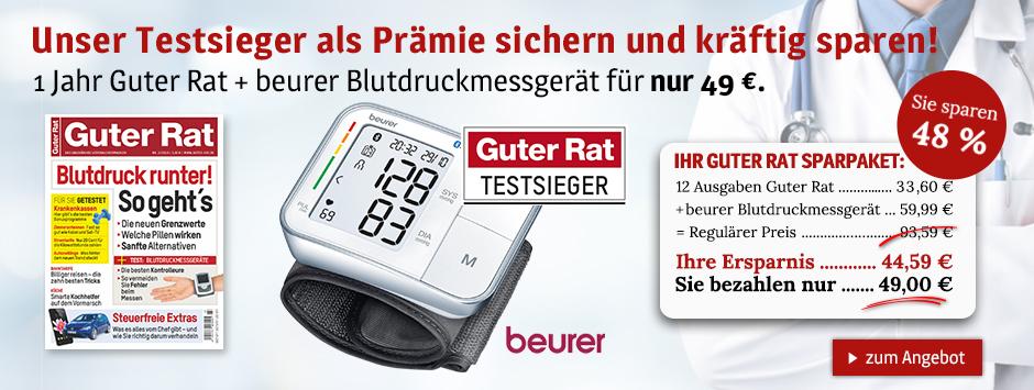 1 Jahr Guter Rat + beurer Blutdruckmessgerät für nur 49 €.