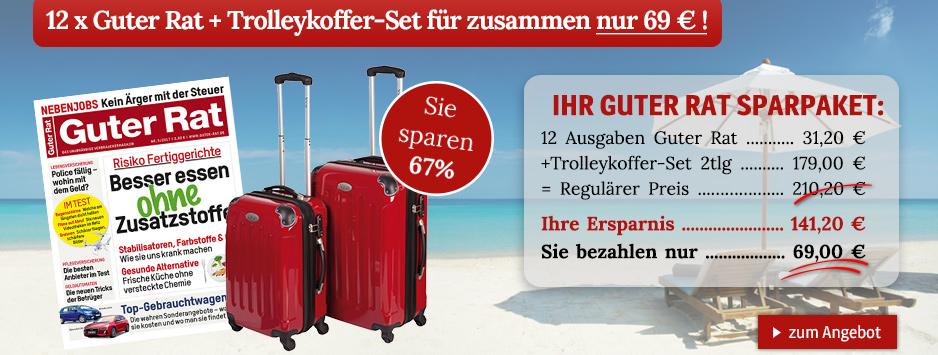 12 x Guter Rat + Trolleykoffer-Set für zusammen nur 69 € !