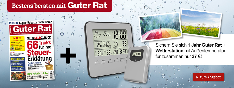 1 Jahr Guter Rat + Wetterstation mit Außentemperatur für nur 37€