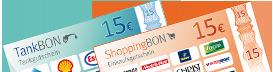 TankBON 15 Euro und Shopping BON 15 Euro
